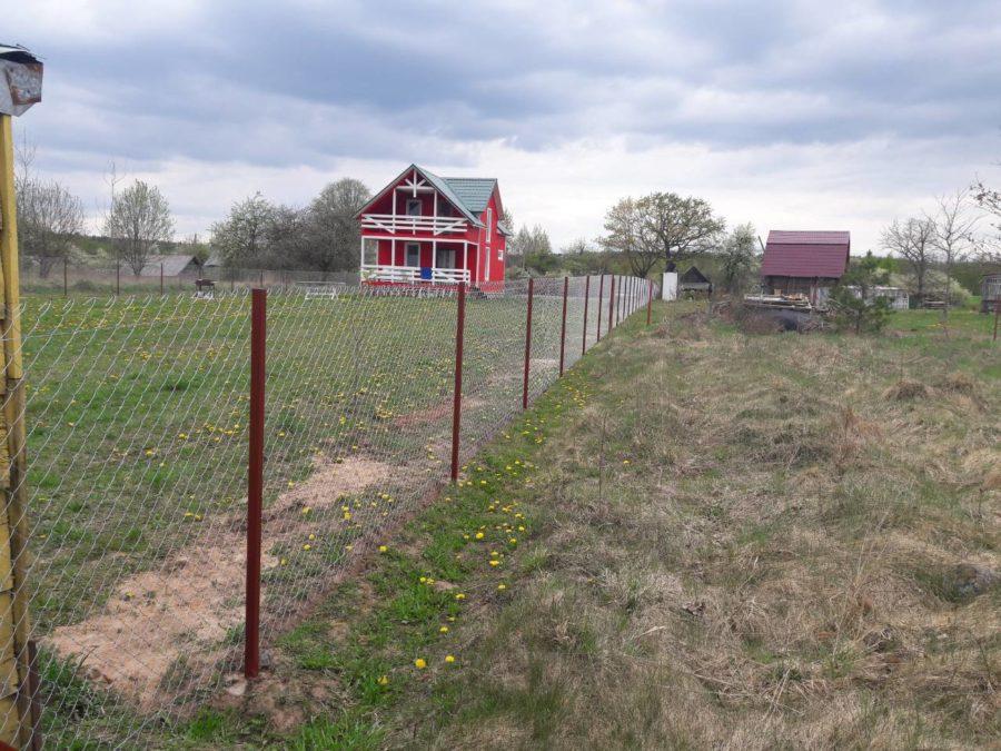 Забор из сетки рабицы 280м с воротами и калиткой фото1