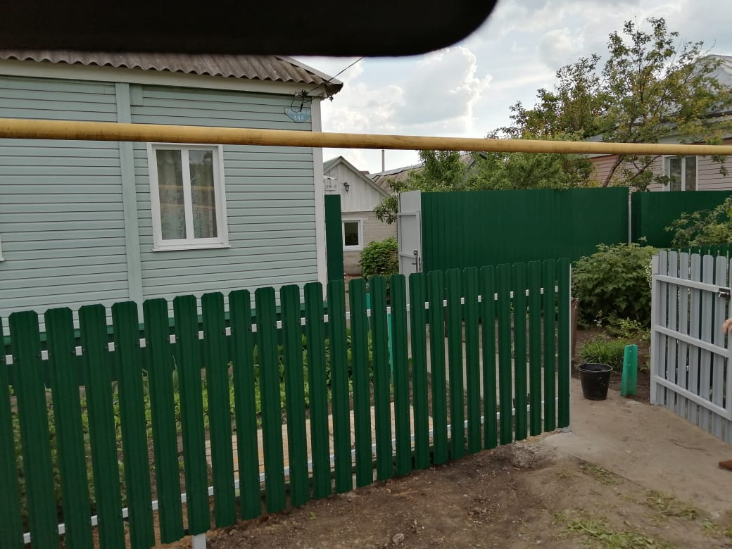 Комбинированный забор 25м штакетник и профлист, ворота, калитка фото5