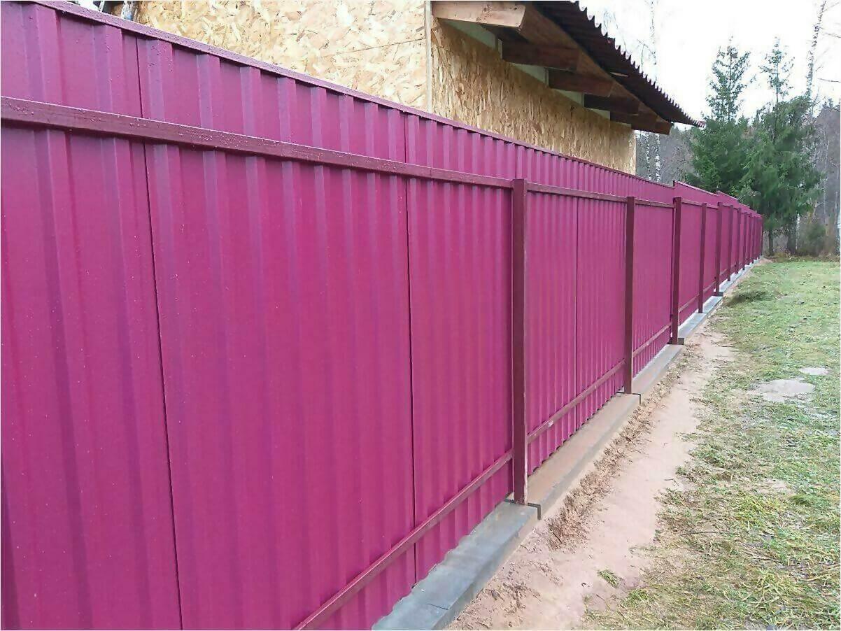 Забор 70м из двустороннего профлиста 3005 фото1