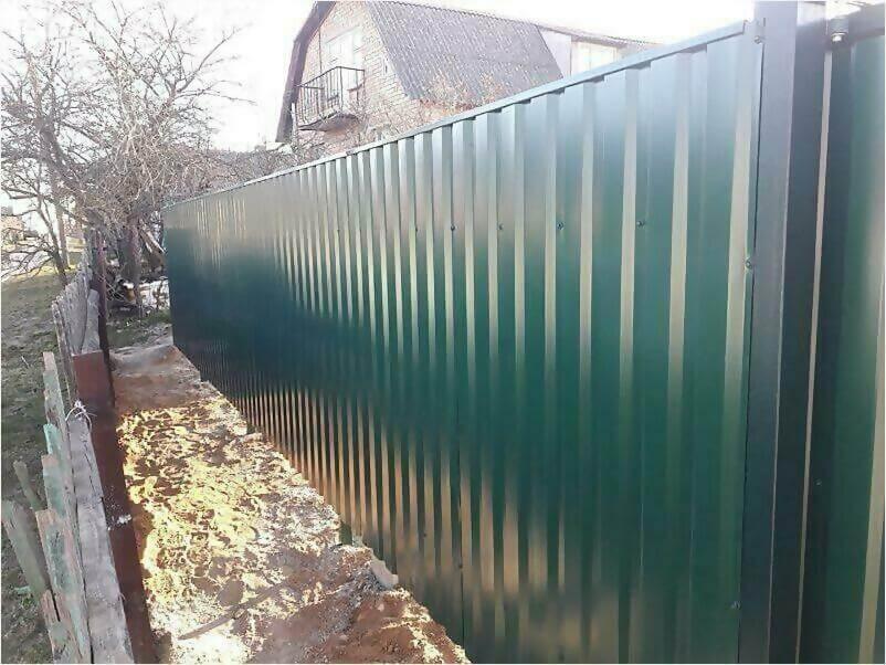 Забор, ворота, калитка из зеленого профлиста 150м фото 8