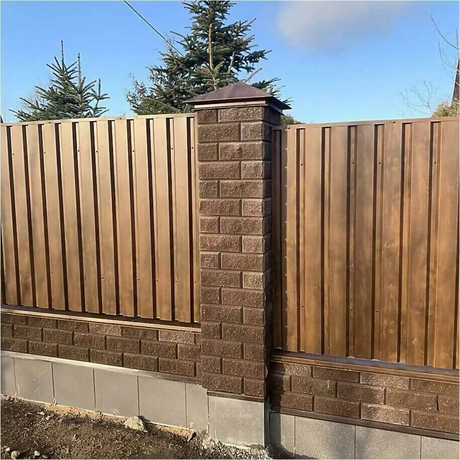 Забор из профлиста НС-21 цвет Printech темное дерево фото4