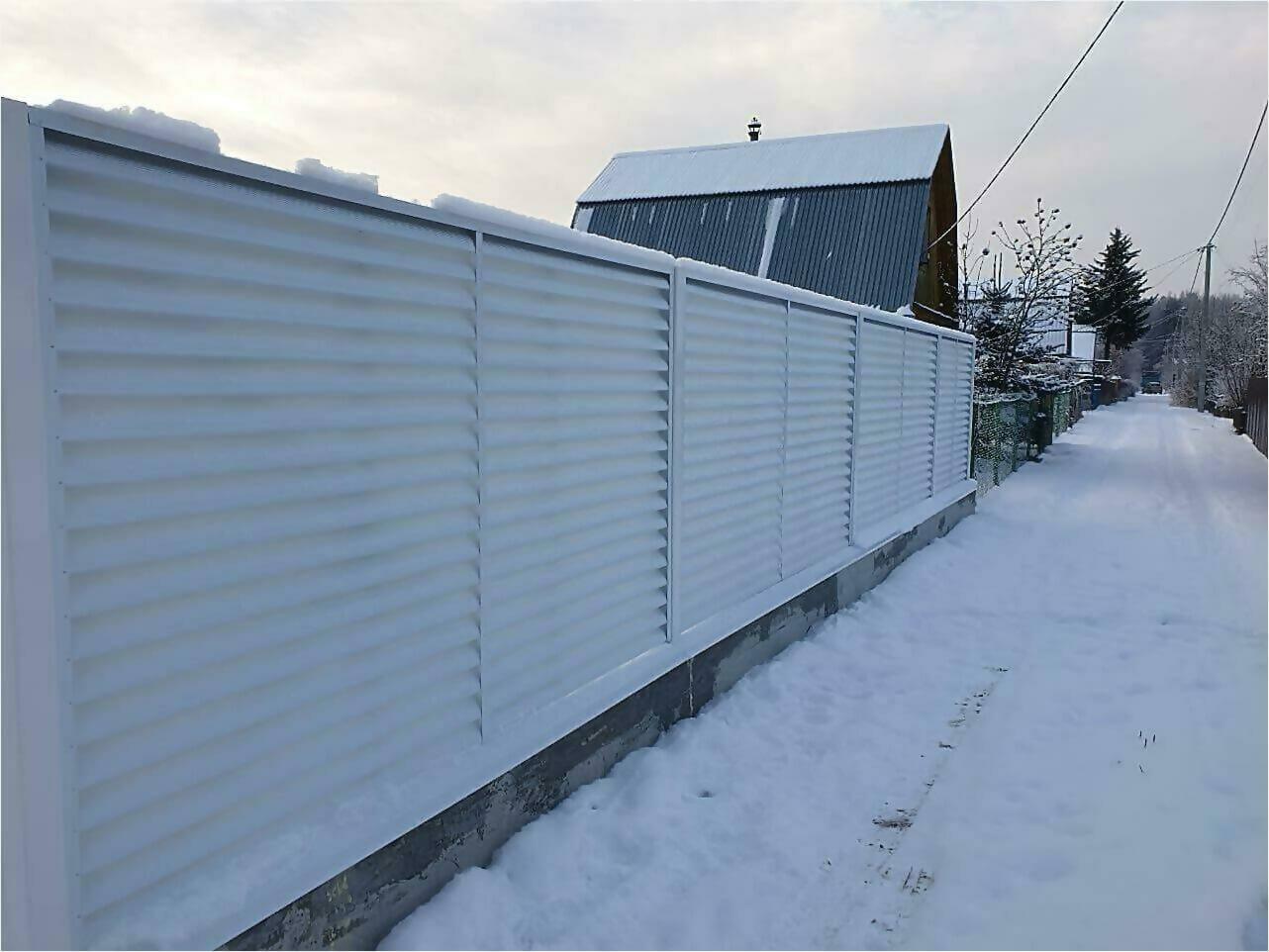 Забор жалюзи 150м RAL9003 фото2