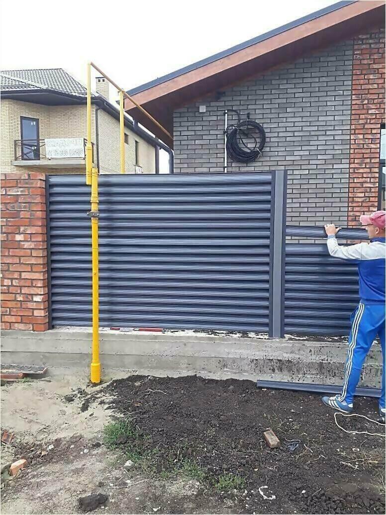 забор жалюзи Серый графит фото5