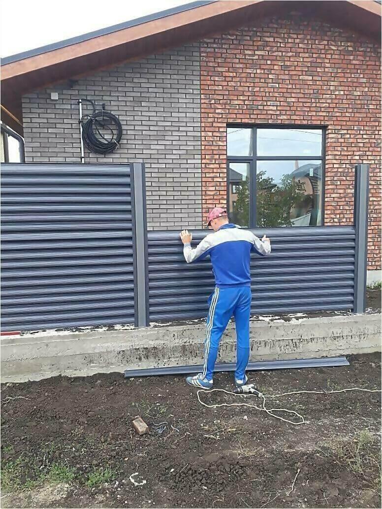 забор жалюзи Серый графит фото6