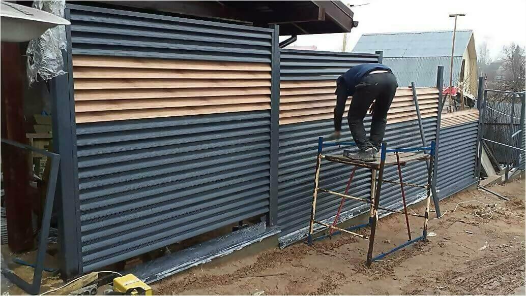 забор жалюзи серый графит, золотое дерево фото3