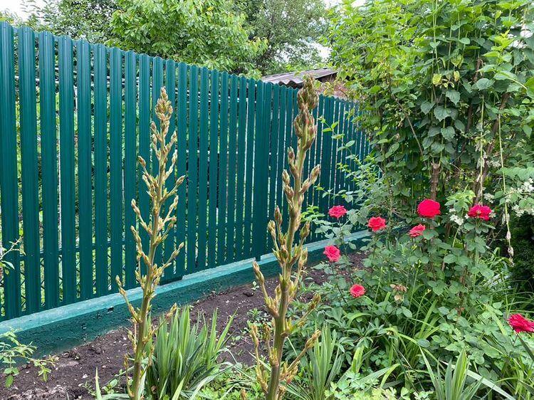 Забор из штакетника 60м Зеленый Мох фото3