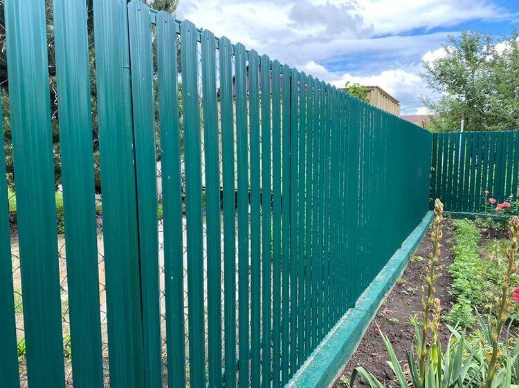Забор из штакетника 60м Зеленый Мох фото4