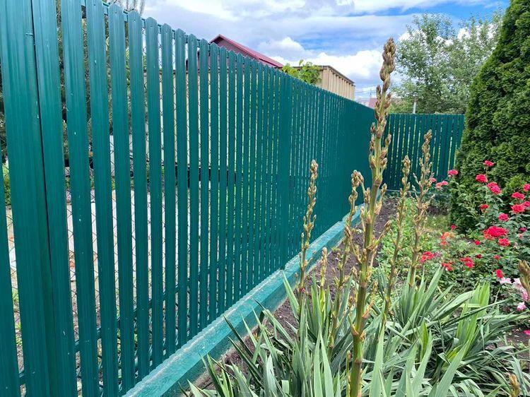 Забор из штакетника 60м Зеленый Мох фото5