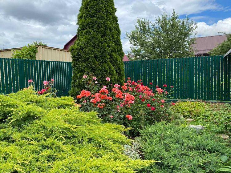 Забор из штакетника 60м Зеленый Мох фото6