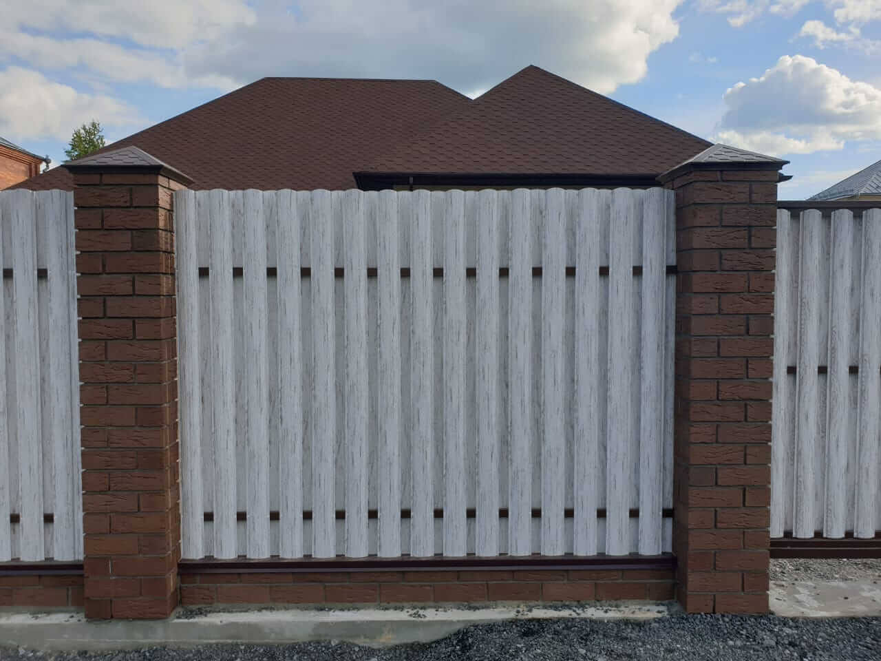 забор из штакетника Белёный Дуб фото9