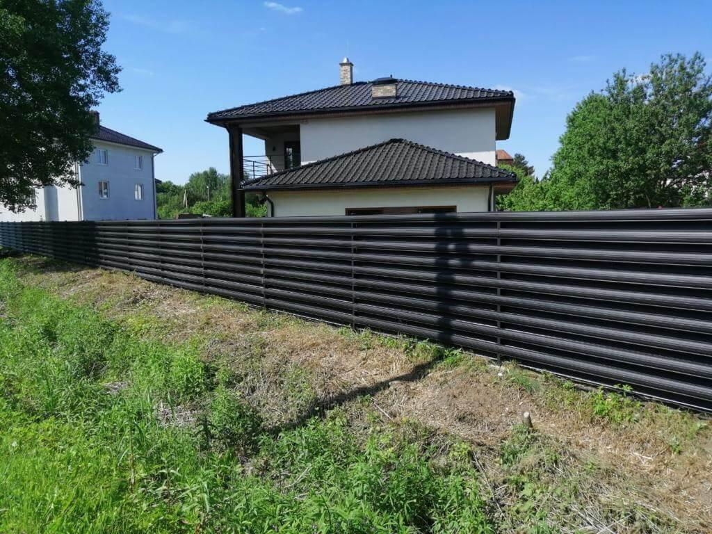 забор из штакетника Черный Стальной Бархат фото4