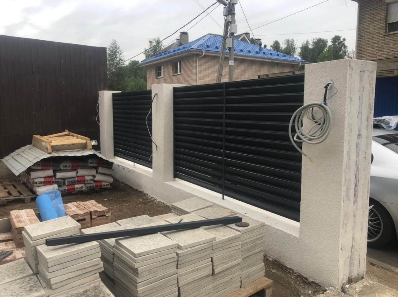 забор-жалюзи ЭКО-Z Серый графит двухсторонний матовый фото5