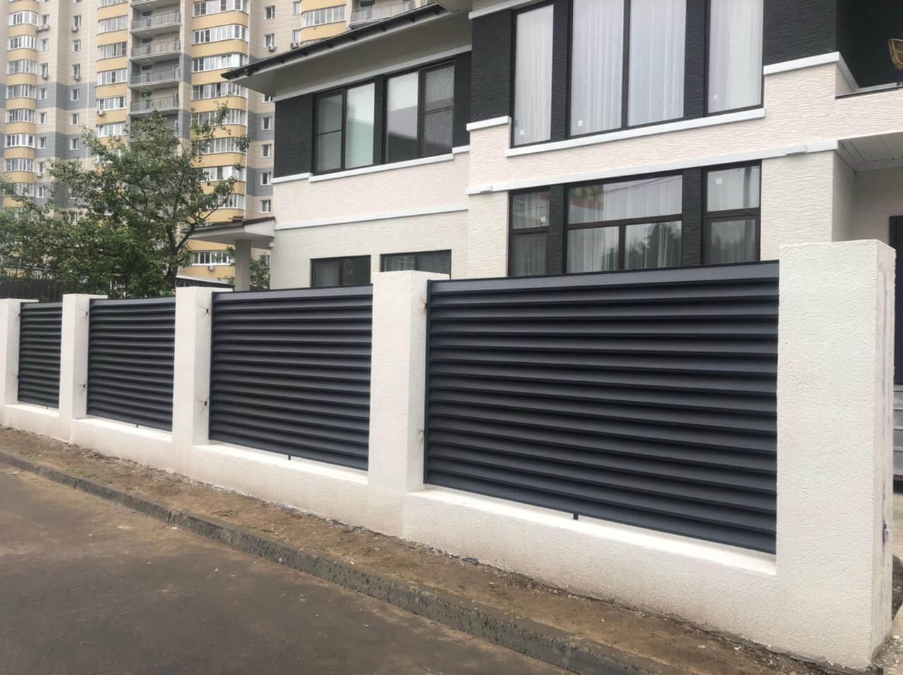 забор-жалюзи ЭКО-Z Серый графит двухсторонний матовый фото4