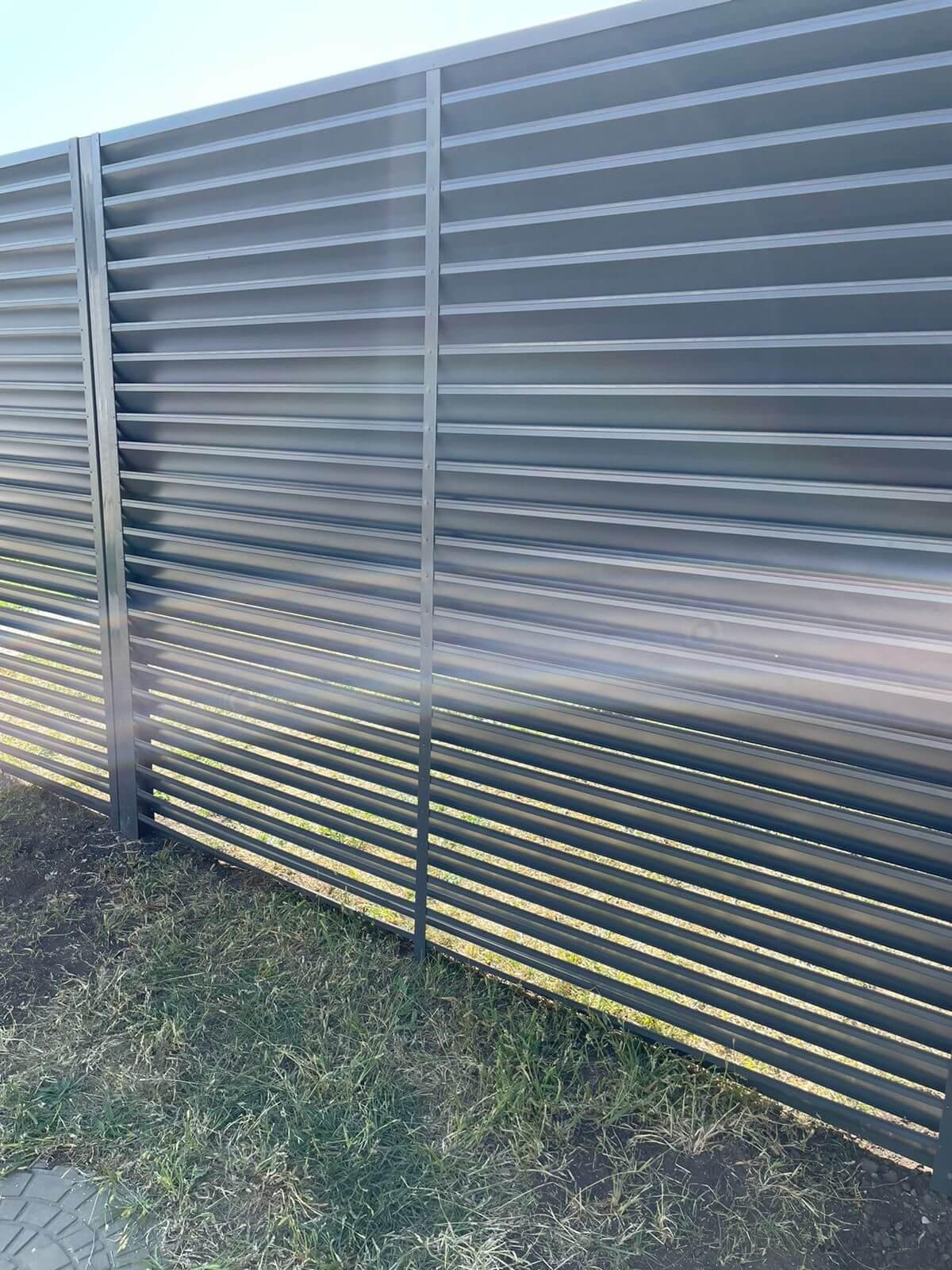 забор-жалюзи с ламелями эко-z ral7024/7024 серый графит двухсторонний фото2