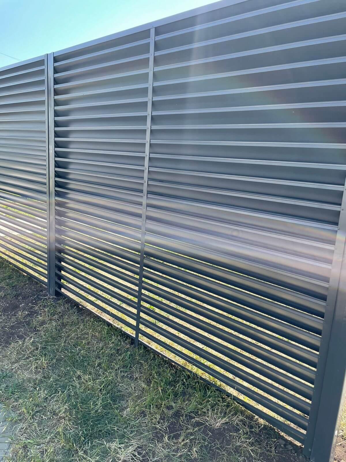 забор-жалюзи с ламелями эко-z ral7024/7024 серый графит двухсторонний фото1