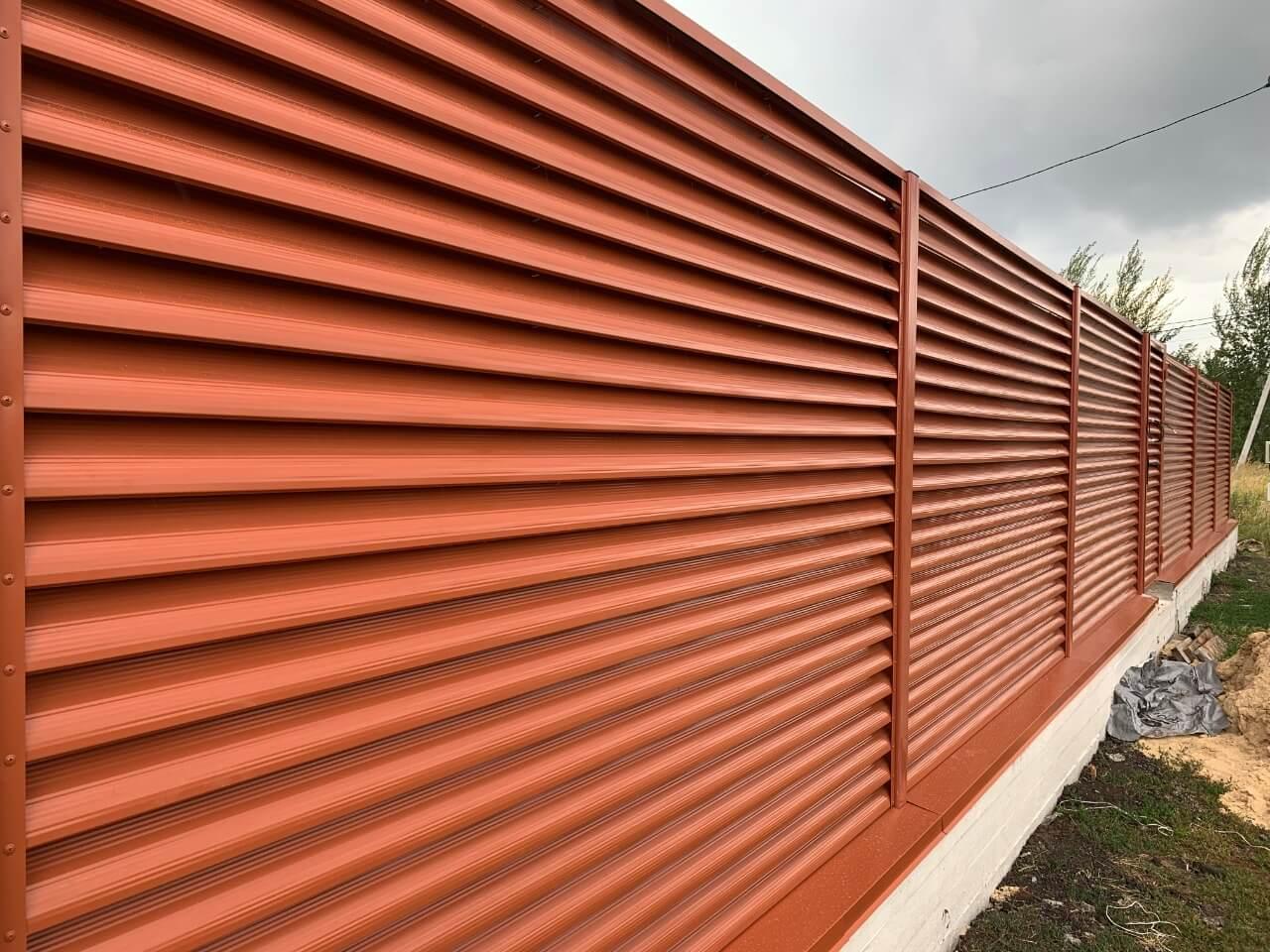 забор-жалюзи терракотовый фото4